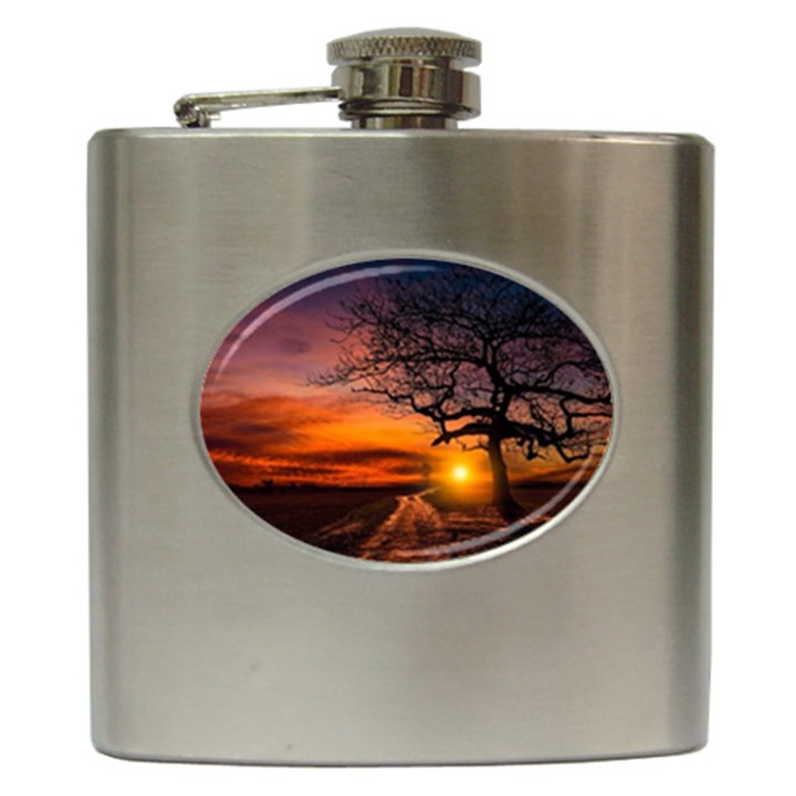 Lonely Tree Sunset Wallpaper Hip Flask (6 oz)