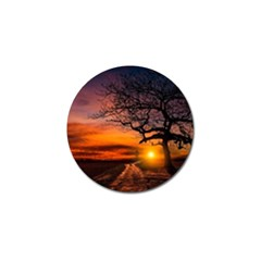 Lonely Tree Sunset Wallpaper Golf Ball Marker