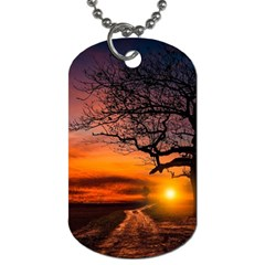 Lonely Tree Sunset Wallpaper Dog Tag (Two Sides)
