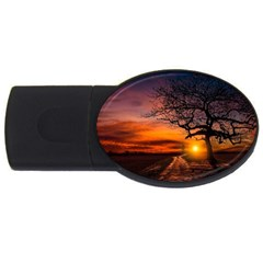 Lonely Tree Sunset Wallpaper USB Flash Drive Oval (2 GB)
