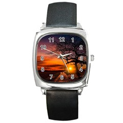 Lonely Tree Sunset Wallpaper Square Metal Watch