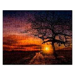 Lonely Tree Sunset Wallpaper Rectangular Jigsaw Puzzl