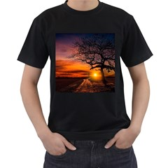 Lonely Tree Sunset Wallpaper Men s T-Shirt (Black) (Two Sided)