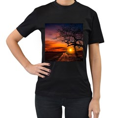 Lonely Tree Sunset Wallpaper Women s T-Shirt (Black) (Two Sided)