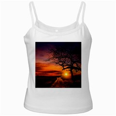 Lonely Tree Sunset Wallpaper Ladies Camisoles