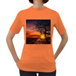 Lonely Tree Sunset Wallpaper Women s Dark T-Shirt Front