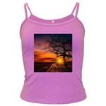 Lonely Tree Sunset Wallpaper Dark Spaghetti Tank Front