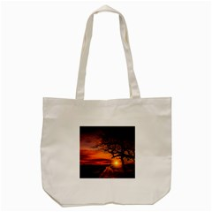 Lonely Tree Sunset Wallpaper Tote Bag (Cream)