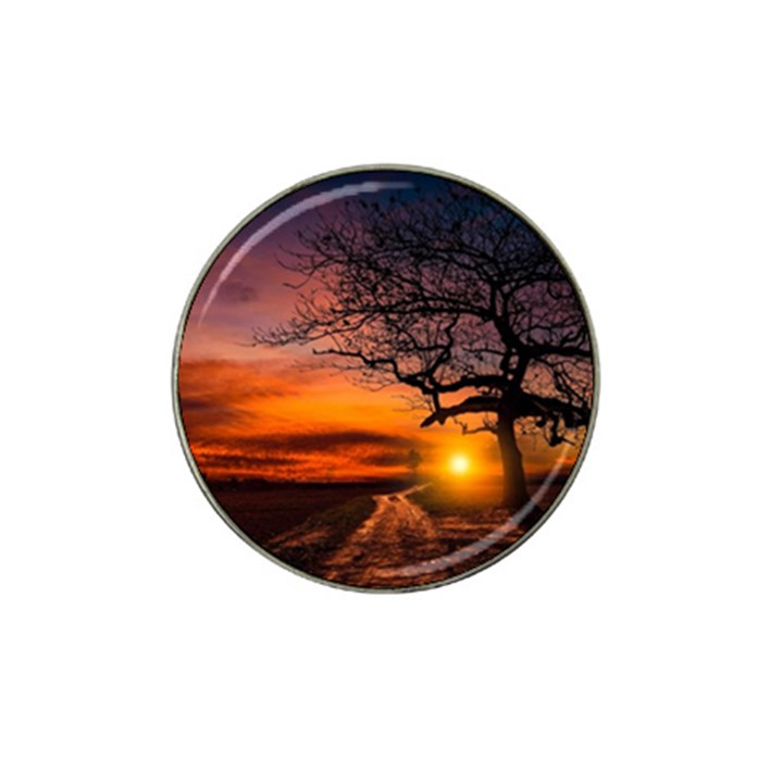 Lonely Tree Sunset Wallpaper Hat Clip Ball Marker
