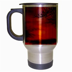 Lonely Tree Sunset Wallpaper Travel Mug (Silver Gray)