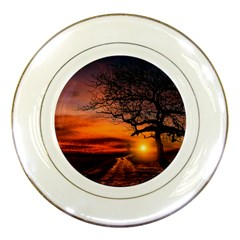 Lonely Tree Sunset Wallpaper Porcelain Plates