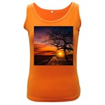 Lonely Tree Sunset Wallpaper Women s Dark Tank Top Front