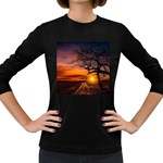Lonely Tree Sunset Wallpaper Women s Long Sleeve Dark T-Shirt Front