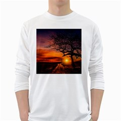 Lonely Tree Sunset Wallpaper Long Sleeve T-Shirt