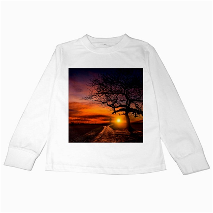 Lonely Tree Sunset Wallpaper Kids Long Sleeve T-Shirts
