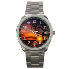 Lonely Tree Sunset Wallpaper Sport Metal Watch