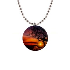 Lonely Tree Sunset Wallpaper Button Necklaces