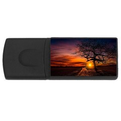 Lonely Tree Sunset Wallpaper Rectangular USB Flash Drive