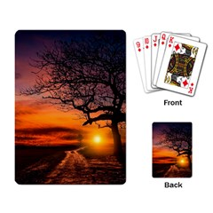 Lonely Tree Sunset Wallpaper Playing Cards Single Design