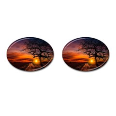Lonely Tree Sunset Wallpaper Cufflinks (Oval)