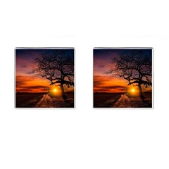 Lonely Tree Sunset Wallpaper Cufflinks (Square)