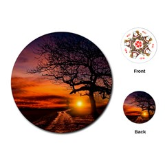 Lonely Tree Sunset Wallpaper Playing Cards (Round)