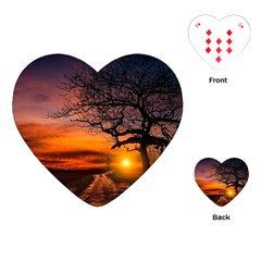 Lonely Tree Sunset Wallpaper Playing Cards (Heart)