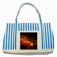 Lonely Tree Sunset Wallpaper Striped Blue Tote Bag