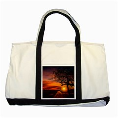 Lonely Tree Sunset Wallpaper Two Tone Tote Bag