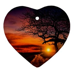 Lonely Tree Sunset Wallpaper Heart Ornament (Two Sides)