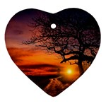 Lonely Tree Sunset Wallpaper Heart Ornament (Two Sides) Back