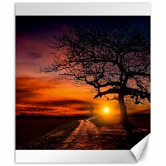 Lonely Tree Sunset Wallpaper Canvas 20  x 24