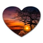 Lonely Tree Sunset Wallpaper Heart Mousepads Front