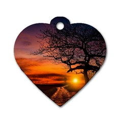Lonely Tree Sunset Wallpaper Dog Tag Heart (One Side)