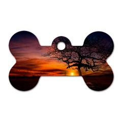 Lonely Tree Sunset Wallpaper Dog Tag Bone (Two Sides)