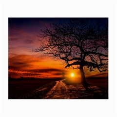 Lonely Tree Sunset Wallpaper Small Glasses Cloth (2-Side)
