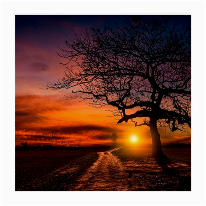Lonely Tree Sunset Wallpaper Medium Glasses Cloth