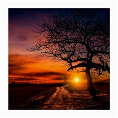 Lonely Tree Sunset Wallpaper Medium Glasses Cloth (2-Side)