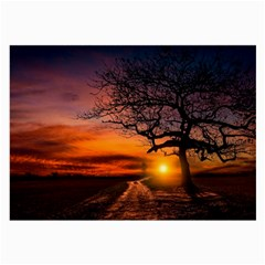 Lonely Tree Sunset Wallpaper Large Glasses Cloth (2-Side)