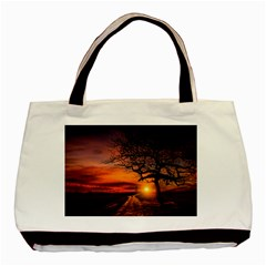 Lonely Tree Sunset Wallpaper Basic Tote Bag (Two Sides)