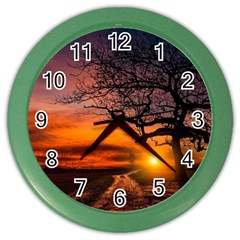 Lonely Tree Sunset Wallpaper Color Wall Clock
