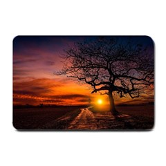 Lonely Tree Sunset Wallpaper Small Doormat