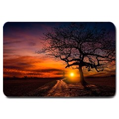Lonely Tree Sunset Wallpaper Large Doormat