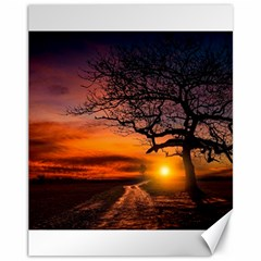 Lonely Tree Sunset Wallpaper Canvas 11  x 14