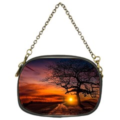 Lonely Tree Sunset Wallpaper Chain Purse (Two Sides)