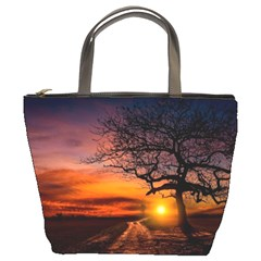 Lonely Tree Sunset Wallpaper Bucket Bag