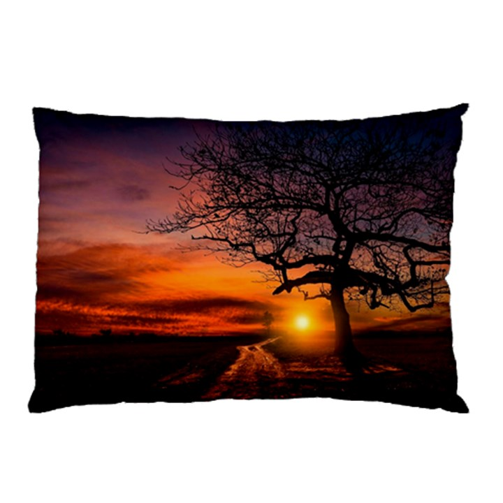 Lonely Tree Sunset Wallpaper Pillow Case