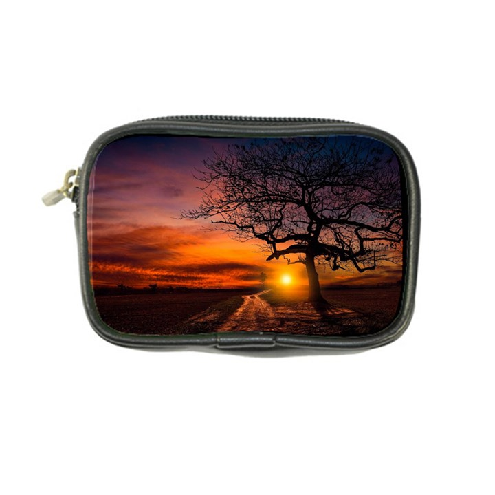 Lonely Tree Sunset Wallpaper Coin Purse
