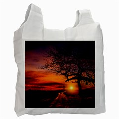 Lonely Tree Sunset Wallpaper Recycle Bag (Two Side)