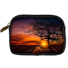 Lonely Tree Sunset Wallpaper Digital Camera Leather Case